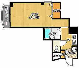 ナカタビルIII番館 4階1Kの間取り
