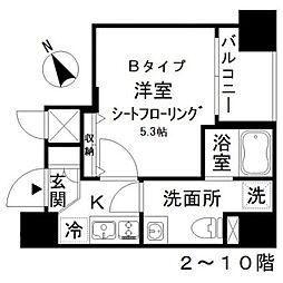 アイディ西五反田 5階1Kの間取り
