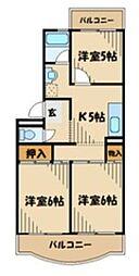 小田急小田原線 相模大野駅 バス5分 みゆき合団地下車 徒歩5分の賃貸マンション 2階3Kの間取り