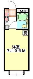 東武東上線 上福岡駅 徒歩5分の賃貸マンション 2階ワンルームの間取り