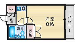 北大阪急行電鉄 緑地公園駅 徒歩15分の賃貸マンション 3階1Kの間取り