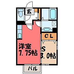 栃木県小山市犬塚3丁目の賃貸アパートの間取り