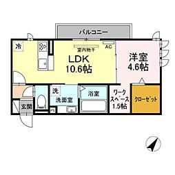 仮)D-room東脇町 2階1LDKの間取り