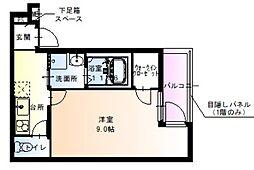 フジパレス住吉沢之町III番館 2階1Kの間取り