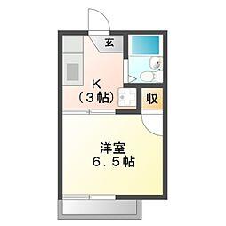 愛知県岡崎市大西3丁目の賃貸アパートの間取り