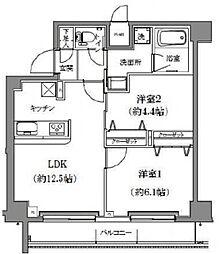 ライジングプレイス両国三番館 6階2LDKの間取り