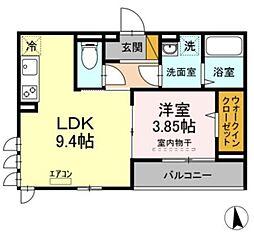 JR総武線 千葉駅 徒歩11分の賃貸アパート 2階1LDKの間取り