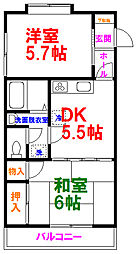 ルミエール昭島 2階2DKの間取り