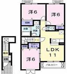 東武野田線 七里駅 徒歩15分の賃貸アパート 2階3LDKの間取り