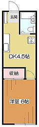 東京都東村山市栄町1丁目の賃貸アパートの間取り