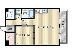 イーズマンション2 6階1LDKの間取り