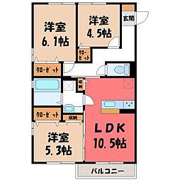 (仮)D-room野木町友沼 B 2階3LDKの間取り