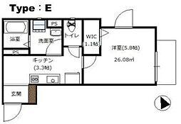 グランメゾン東京 3階1Kの間取り