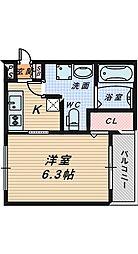 大阪府堺市堺区海山町1丁の賃貸アパートの間取り
