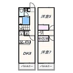 南海線 鳥取ノ荘駅 徒歩10分の賃貸アパート 2階2DKの間取り
