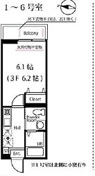 JR横浜線 大口駅 徒歩4分の賃貸アパート 1階1Kの間取り