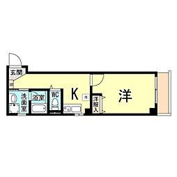 神戸市海岸線 ハーバーランド駅 徒歩10分の賃貸マンション 2階1Kの間取り