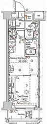 東急多摩川線 矢口渡駅 徒歩4分の賃貸マンション 4階1DKの間取り