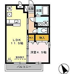 愛知県豊橋市船町の賃貸アパートの間取り