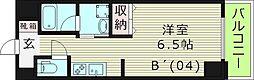 エスライズ桜ノ宮2 8階ワンルームの間取り