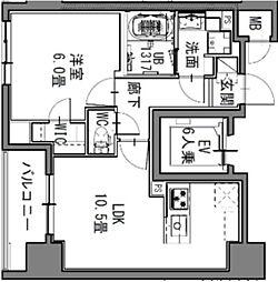 都営大江戸線 新御徒町駅 徒歩4分の賃貸マンション 9階1LDKの間取り