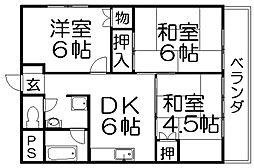 ハイツ桑田[3階]の間取り