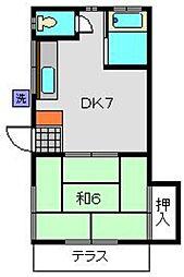 三村荘[1号室]の間取り