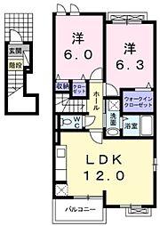 東武東上線 川越駅 バス30分 上中山下車 徒歩4分の賃貸アパート 2階2LDKの間取り