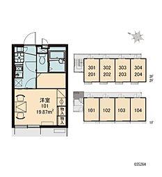 JR中央線 高尾駅 徒歩29分の賃貸アパート 2階1Kの間取り