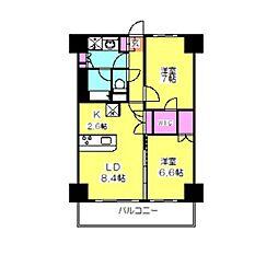 神奈川県横浜市鶴見区獅子ケ谷2丁目の賃貸マンションの間取り