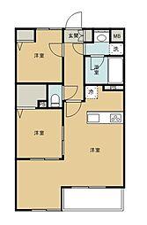 西武新宿線 花小金井駅 バス10分 グローブライド本社入口下車 徒歩9分の賃貸アパート 2階2LDKの間取り
