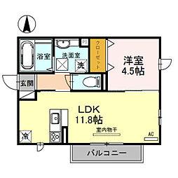 南海高野線 北野田駅 徒歩25分の賃貸アパート 1階1LDKの間取り