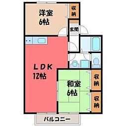 栃木県宇都宮市陽東1丁目の賃貸アパートの間取り