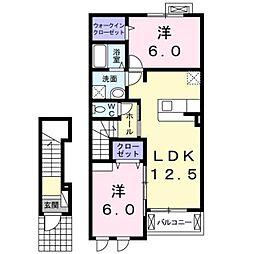 大阪府堺市東区日置荘西町5丁の賃貸アパートの間取り