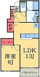 千葉県千葉市緑区誉田町2の賃貸アパートの間取り