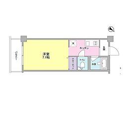JR東海道本線 横浜駅 徒歩13分の賃貸マンション 3階1Kの間取り