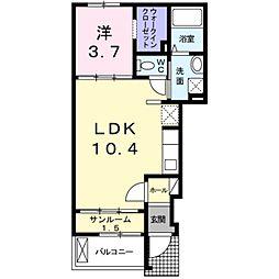 南海高野線 白鷺駅 徒歩14分の賃貸アパート 1階1LDKの間取り
