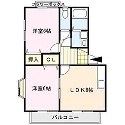 福岡県久留米市安武町安武本の賃貸アパートの間取り