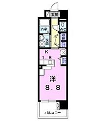 JR埼京線 武蔵浦和駅 徒歩13分の賃貸マンション 4階1Kの間取り