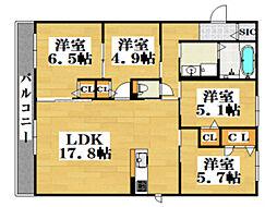ロンボヌール天神南B 3階4LDKの間取り