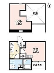 阪堺電気軌道阪堺線 安立町駅 徒歩2分の賃貸アパート 1階1Kの間取り