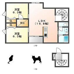 愛知県名古屋市名東区高柳町の賃貸アパートの間取り