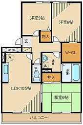 京王線 多磨霊園駅 徒歩14分の賃貸マンション 3階3LDKの間取り
