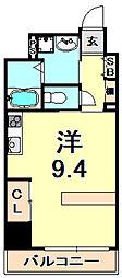 阪神本線 芦屋駅 徒歩9分の賃貸マンション 1階ワンルームの間取り