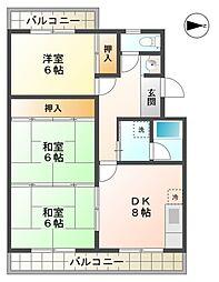 愛知県豊田市松ケ枝町3丁目の賃貸マンションの間取り