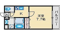 ロイヤルクイーンズパーク吹田片山町 4階1Kの間取り