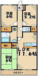 グリーンハイツ(若葉台) 3階3LDKの間取り