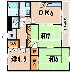 滋賀県栗東市綣6丁目の賃貸マンションの間取り