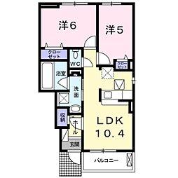 パフューム中央2 1階2LDKの間取り