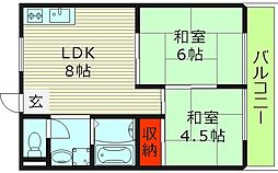 クリアポート福本 5階2LDKの間取り